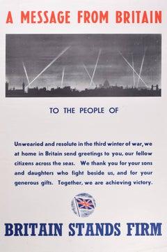 1942 Original Poster World War 2 Britain Churchill London, St Paul's Cathedral