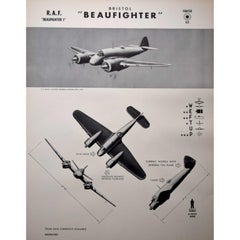 1942 RAF Bristol Beaufighter aeroplane identification poster WW2