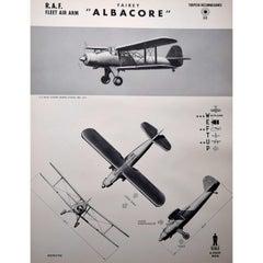 1942 RAF Fairey Albacore Torpedo Bomber Reconnaissance identification poster
