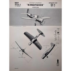 1942 Vought Sikorsky Kingfisher Landplane aeroplane identification poster WW2
