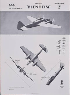 1943 Air Force Bristol Blenheim id poster US Naval Aviation Training Division