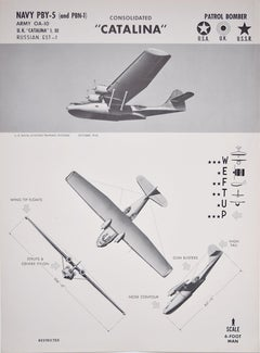 1943 Consolidated PBY Catalina Seaplane airplane recognition poster pub. US Navy