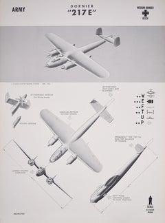 1943 Dornier Do 217 Luftwaffe World War 2 US airplane recognition poster