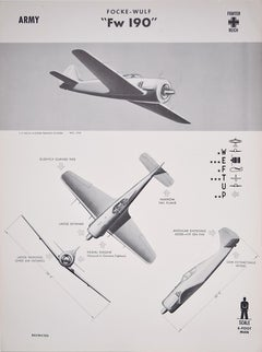 1943 Focke-Wulf FW 190 Würger Luftwaffe World War 2 airplane recognition poster
