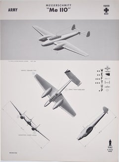 1943 Messerschmitt Bf 110 Luftwaffe Me 110 US aeroplane recognition poster
