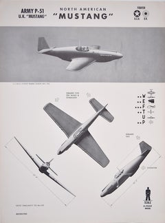 1943 North American Mustang P-51 World War 2 US airplane recognition poster