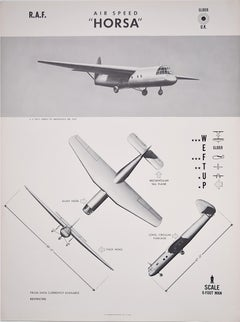 1943 Royal Air Force Airspeed Horsa Glider aeroplane recognition poster US Navy