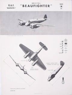 1942 Royal Air Force Bristol Beaufighter aeroplane recognition poster World War