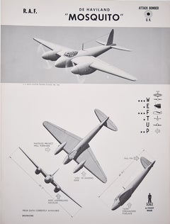 1943 Royal Air Force DH Mosquito aeroplane recognition poster pub. US Navy