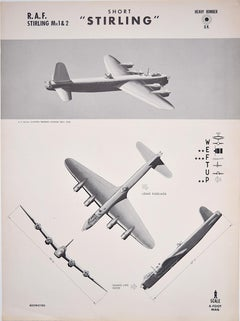1943 Royal Air Force Short Stirling aeroplane recognition poster pub. US Navy