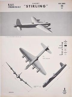 1943 Royal Air Force Short Stirling aeroplane recognition poster pub. US Navy