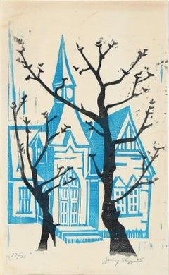 1960's Woodblock Print of a Blue Building with Winter Trees