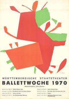 1970 Unknown 'Ballettwoche 1970' Abstract Orange,Red,Black,Black & White,Green