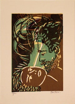 1970 Unknown 'Passion' Contemporary Brown,Green,Neutral Lithograph