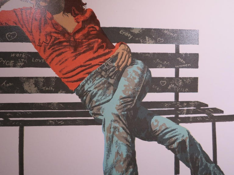 Beautiful and sexy original screen print depicts a young woman sitting on a graffiti park bench. Screen print on wove paper, 30 x 40 inches. ca. 1970. Signed
