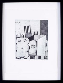 1970s Surrealist black and white etchings by German artist Christoph Muhil