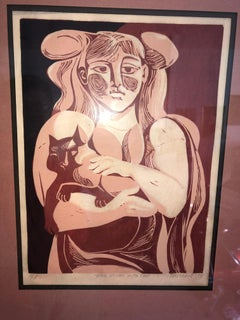 "1974 Picasso Style Etching ""Young Woman with Cat"""
