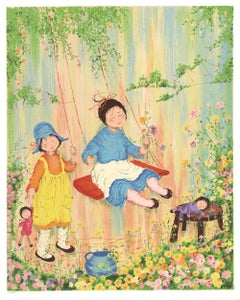 1979 Unknown 'Children Playing on a Swing' Contemporary Multicolor,Pink,Pastel,O