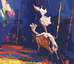 1987 Unknown 'Circus Rider' Blue,Multicolor United Kingdom Serigraph