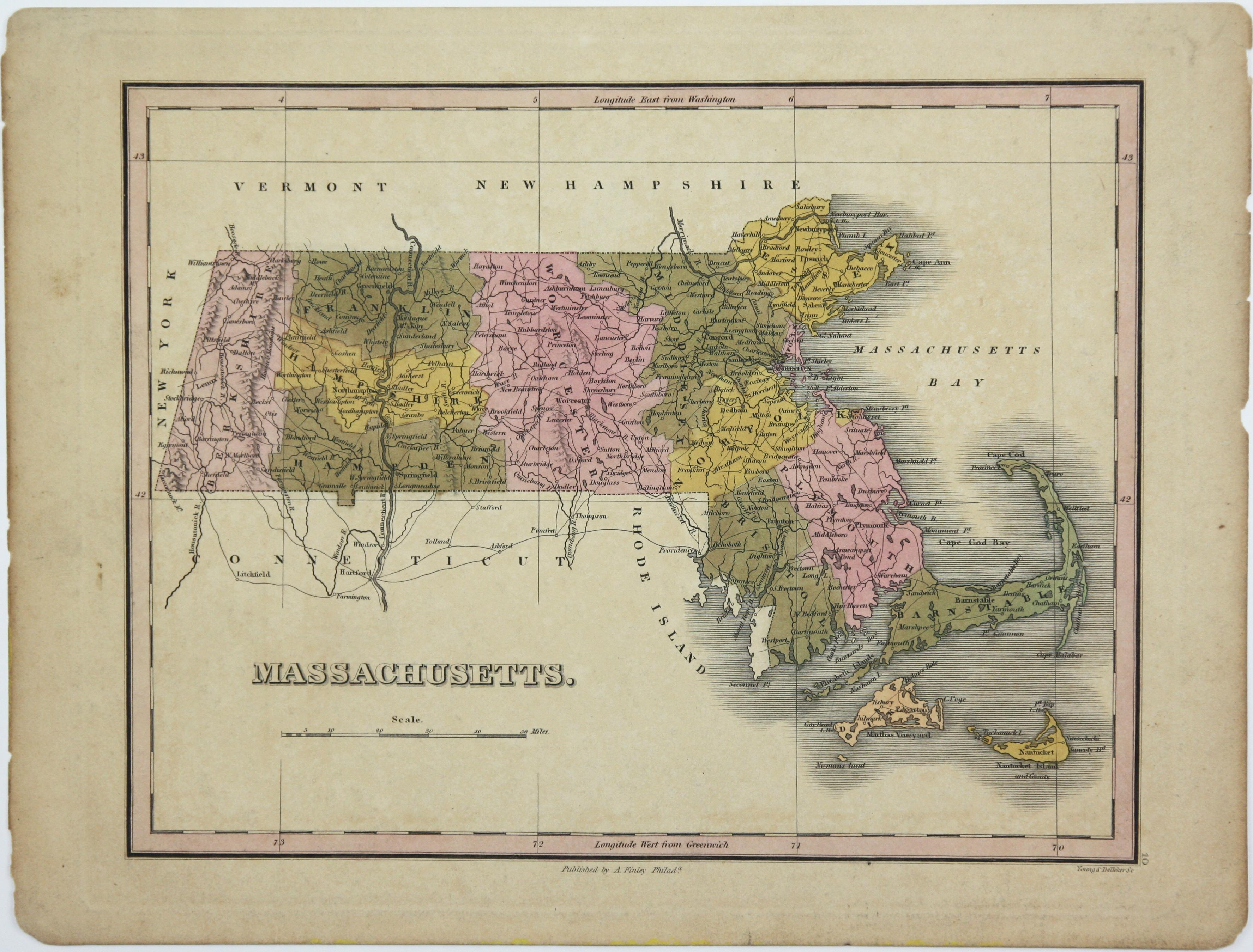 6, 19th Century hand-colored maps printed by Anthony Finley of Philadelphia 1824