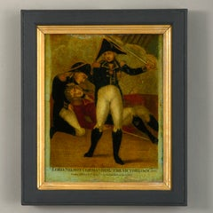 A 19th Century Reverse Glass Print Depicting Lord Nelson Commanding The Victory