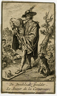 A bagpipe player making music and playing a puppetshow - Etching - 18th Century