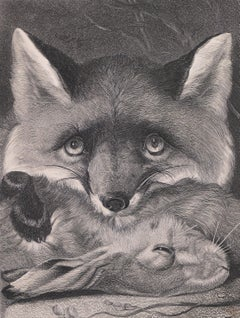A Fox with its Prey - Original Lithograph - Late 19th Century