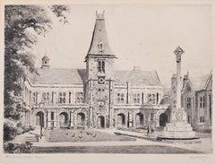 A J Meyer Etching Dulwich College London c. 1920 British School print