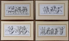 A Set of Four Engravings of Processions of Roman Soldiers, Citizens and Horses