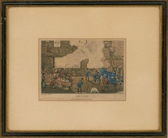 A Set of Four Framed Late 19th Century Lithographs - Fire Scene
