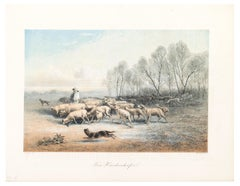 A Shepherd with his Sheeps - Original Lithograph - Late 19th Century