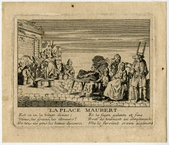 A view of the market at the Place Maubert in Paris - Engraving - 18th Century