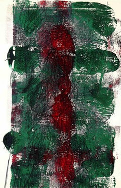 Abstract Composition in Green and Red - Original Lithograph -1980s