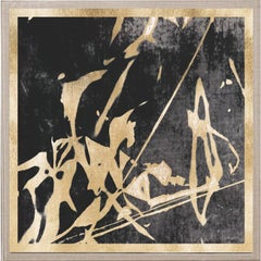 Abstract Flames no. 1, gold leaf, framed