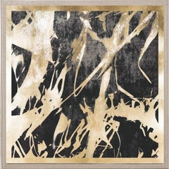 Abstract Flames no. 4, gold leaf, framed