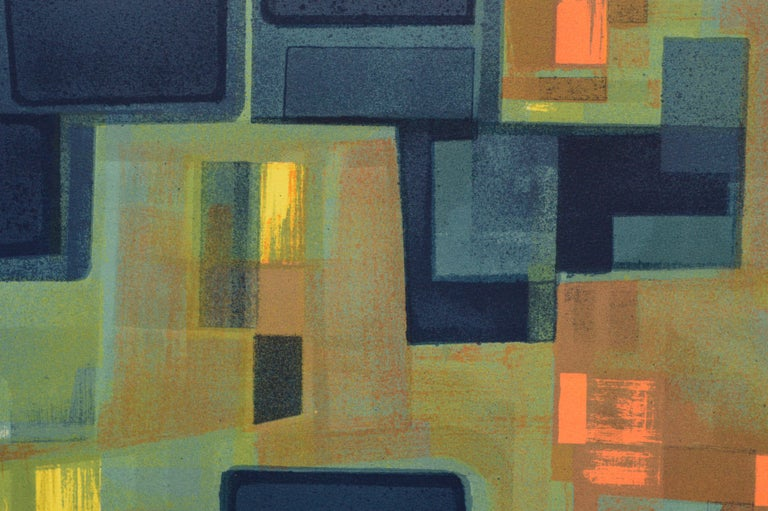 Abstract geometric lithograph by an unknown artist. Signed in the lower right corner, which appears to read