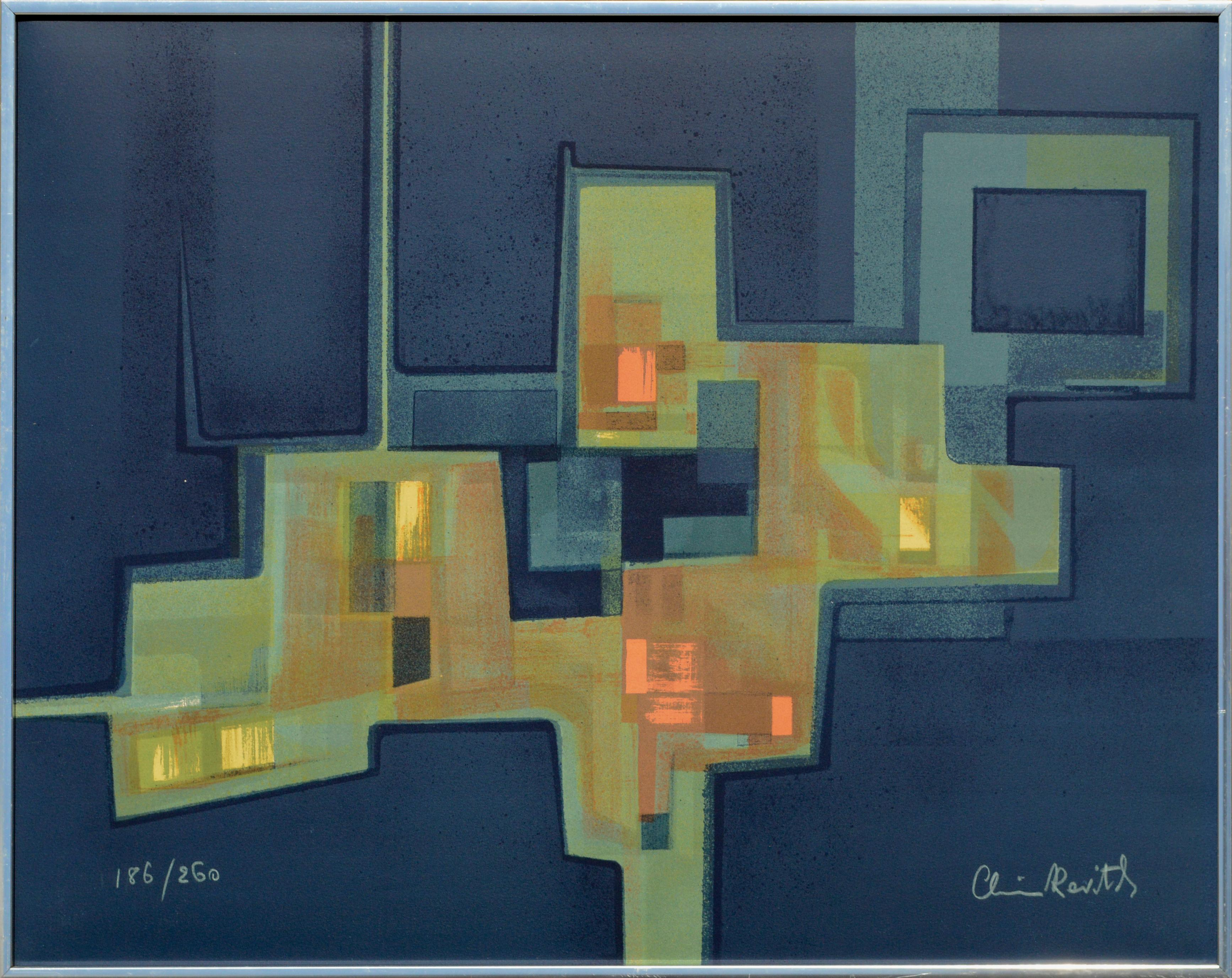 Abstract Geometric Sage Green with Rust Orange on Dark Blue, Signed Lithograph