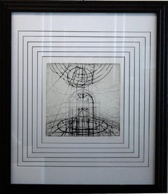 """Abstract I"" Framed and Matted Print with Gold-Leaf (part of set)"