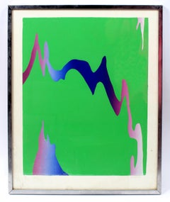 Abstract Print Green Pink Purple Neon Bright Framed Original American 1973