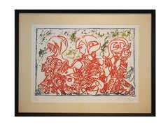 Abstract Red Tonal Figurative Print Edition 23 of 50