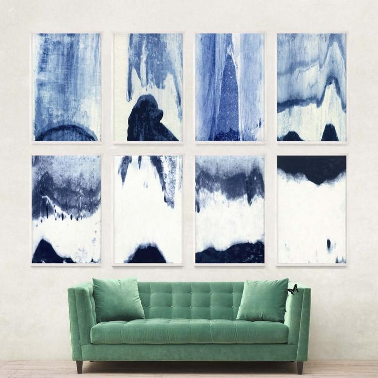 Abstracted Landscapes, blue no. 5, framed - Print by Unknown