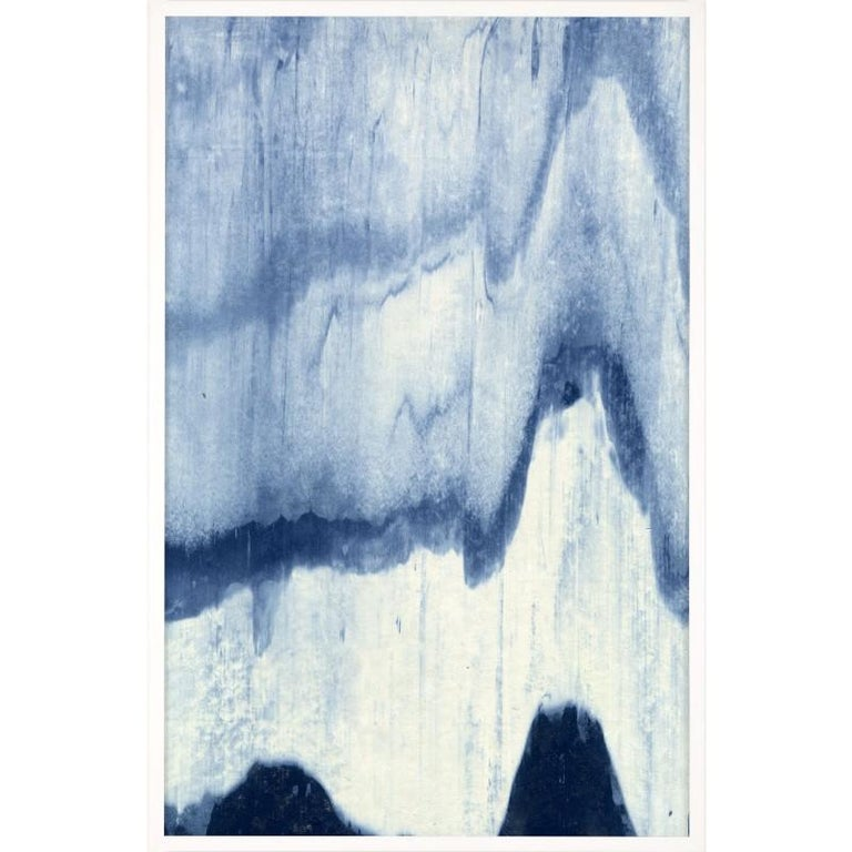 Unknown Abstract Print - Abstracted Landscapes, blue no. 5, framed