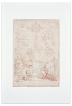 Adoration of the Cross - Original Etching on Paper - 18th Century