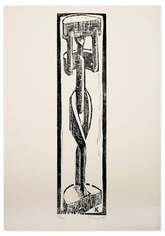 African Sculpture - Original Woodcut - 1965