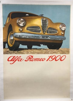 ALFA ROMEO 1900 - ITALIAN - CARS - FACTORY DEALER POSTER - GOLD - 1951