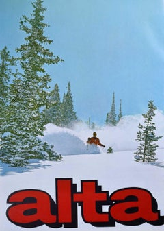 Alta Vintage Ski Poster (c.1970) Utah United States Skiing powder