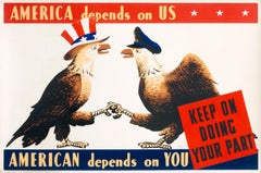 """America Depends on Us - American Depends on You"" Original WWII Airline Poster"