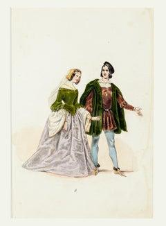 Ancient Costume - Original Lithograph - Mid 19th Century