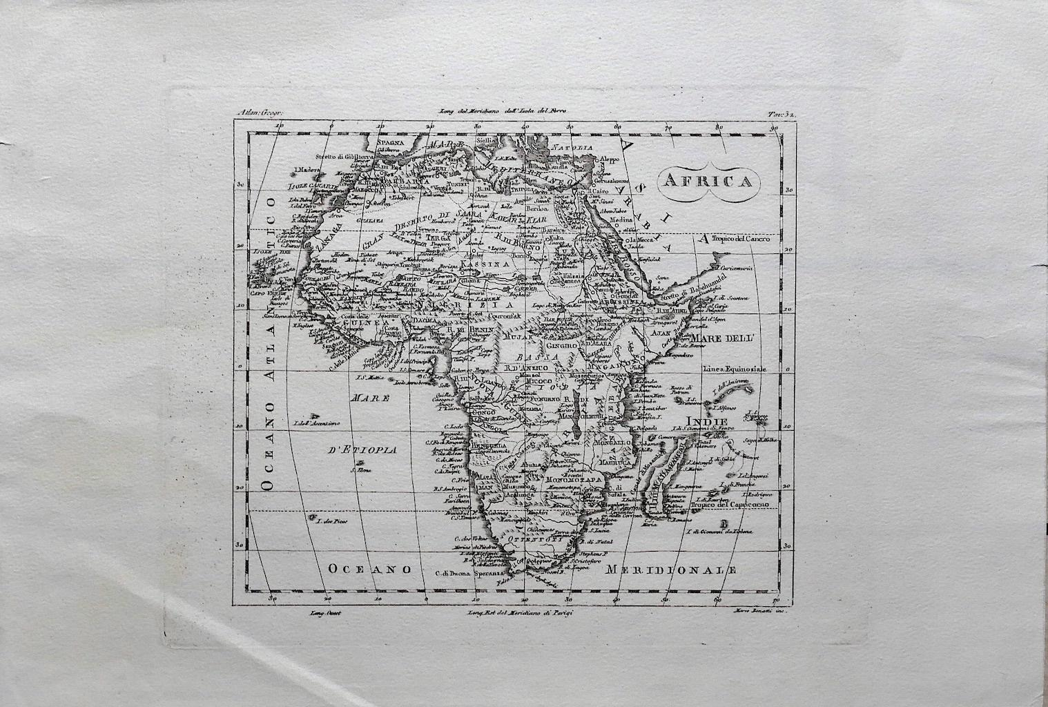 Ancient Map of Africa - Original Etching - 19th century