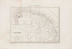 Ancient Map of Guyane - Original Etching - 19th Century
